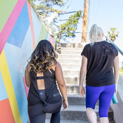 two women walking up the stairs in Los Angeles