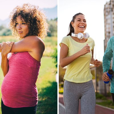 Pregnant woman stretching in active wear and couple running on track in bright activewear