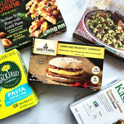 A selection of frozen entrees featuring plant-based protein.