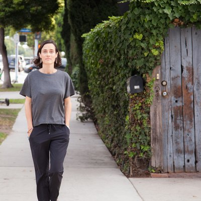 Julie Campistron walking down the street