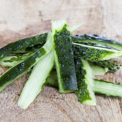 green peel of a cucumber
