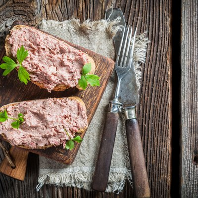 Two delicious sandwich made of pate with parsley