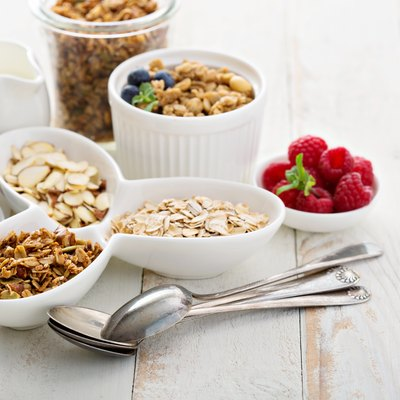 Breakfast items on the table with a lot of fiber