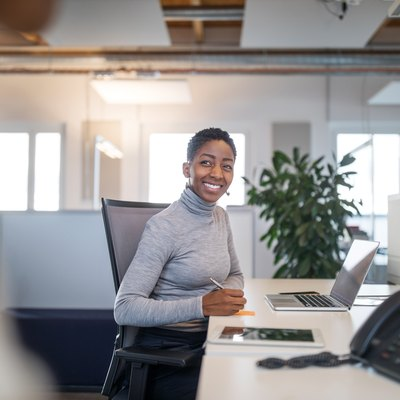 Female professional working at her desk