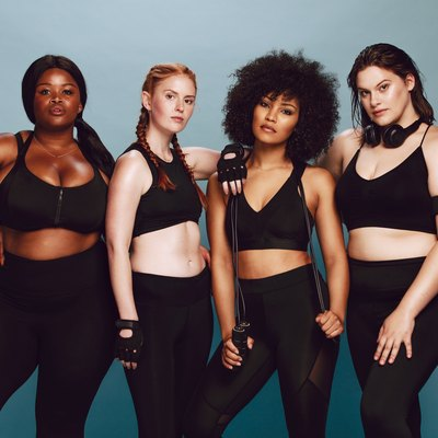 Diverse group of women in plus-size workout clothes