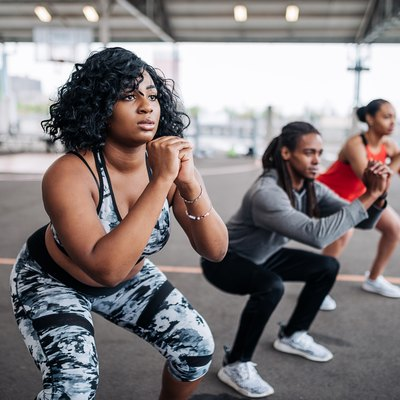 Obese woman on private session with female instructor