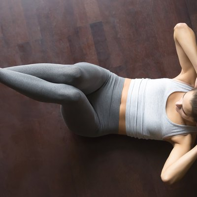 View from above. Abdominal crunches