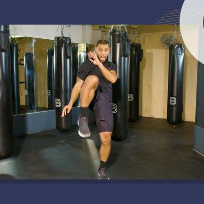 photo of BoxUnion coach Justin Blackwell doing quick cardio kickboxing workout
