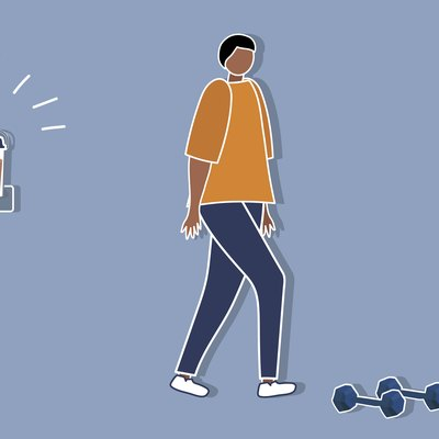 Custom graphic showing person next to weights walking away from protein shake