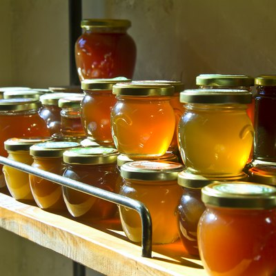 honey jars on a shelf
