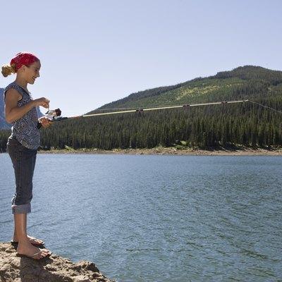 Girl fishing by lake