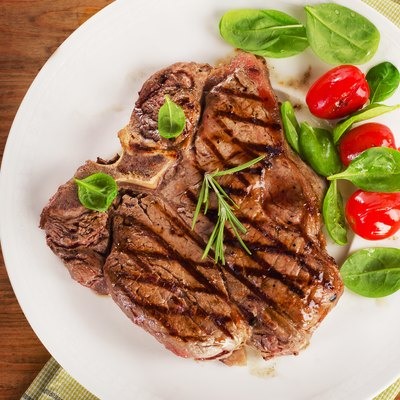 T-bone steak served