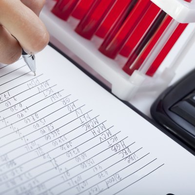 Doctor's medical notes and blood samples.