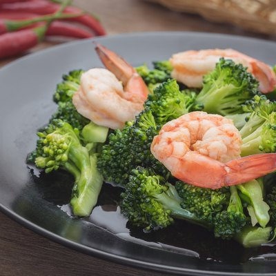 Stir fried broccoli with shrimp on plate