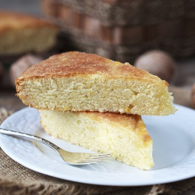 Piece of traditional Greek yoghurt cake Yaourtopita