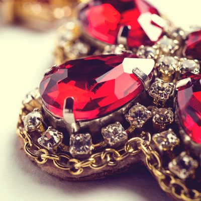 Handmade red earrings with jewels. Vintage style