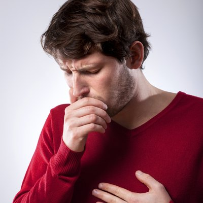 Ailing man suffering from pneumonia