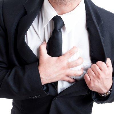 Business man having heart attack
