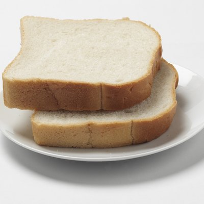 Two thick slices of white bread, close up