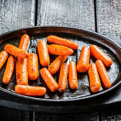 Grilled carrots on grill
