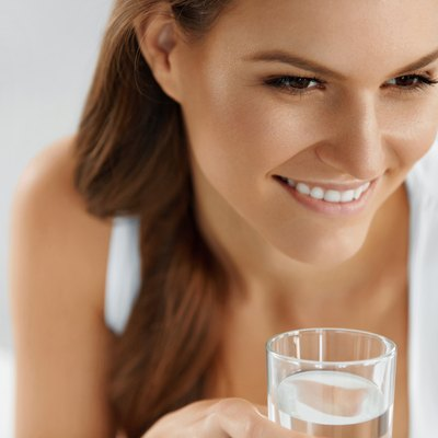 Health, Beauty, Diet Concept. Woman Drinking Water. Drink. Water