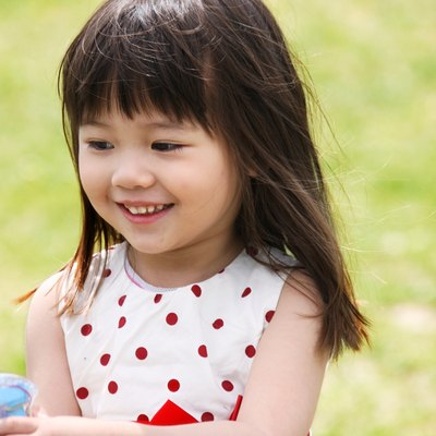 A girl playing outside