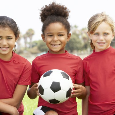 Young Girls In Football Team