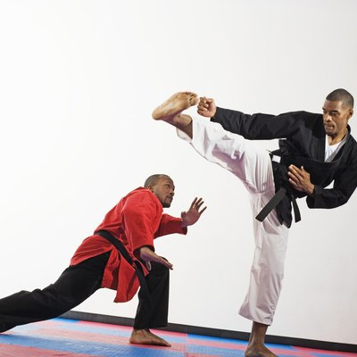 Two men doing martial arts