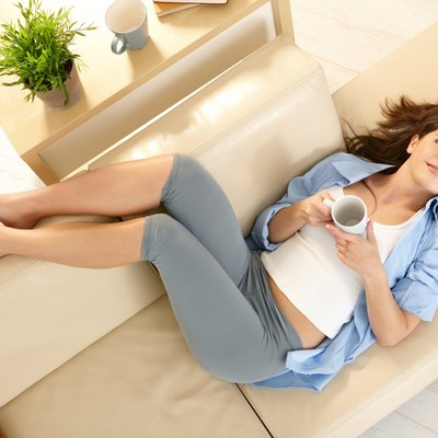 Girl on living room couch