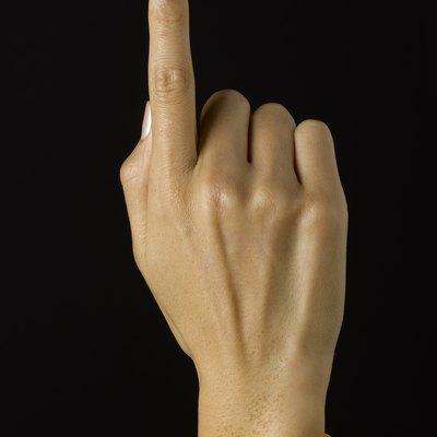 Yellow band on wrist