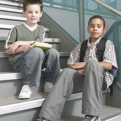 Classmates sitting on stairs