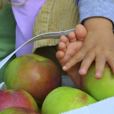 Baby's Fingers and Toes in Bag of Apples