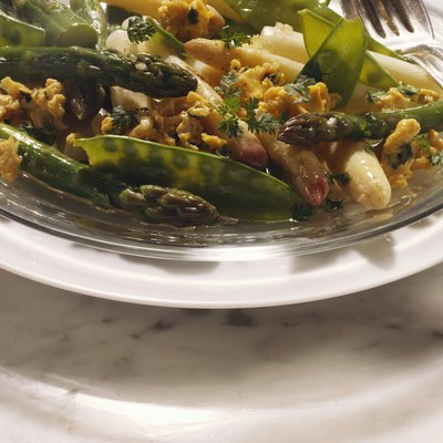 Asparagus Salad with Scrambled Egg and Sugar Peas