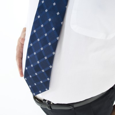 Overweight businessman with a pot belly