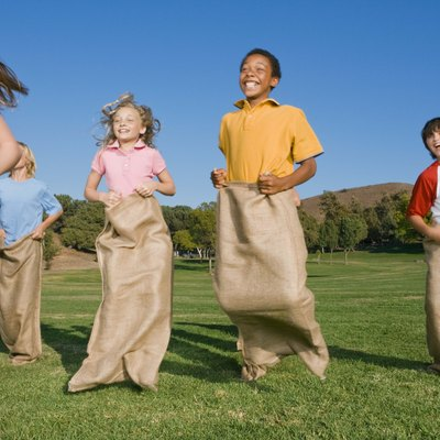 Children potato sack racing