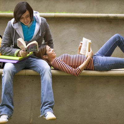 Students relaxing and reading together