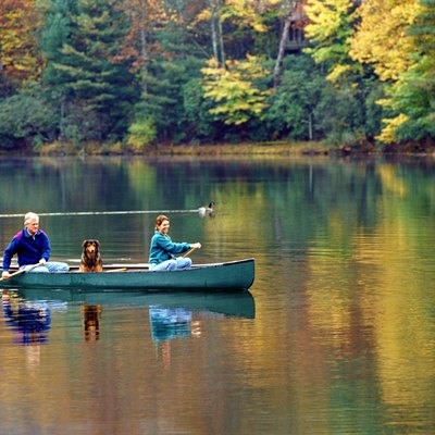 Couple, with dog, canoeing on lake