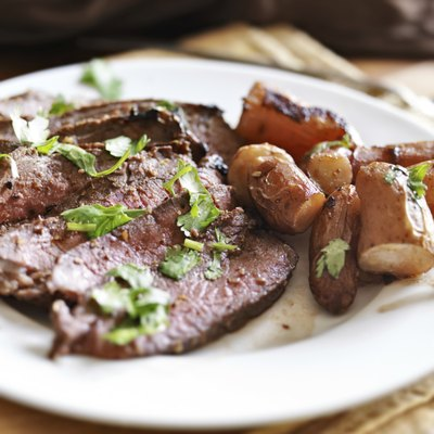 London broil beef roast with french fingerling potatoes