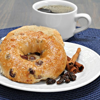 Cinnamon Raisin Bagel, buttered and toasted.