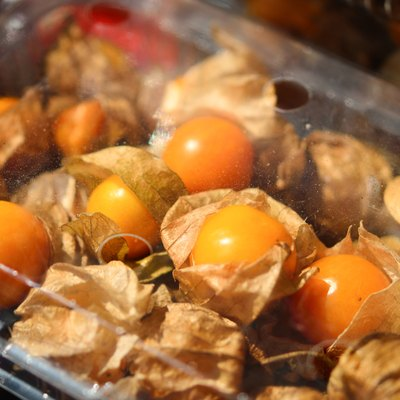 Cape Gooseberry in a plastic package on market