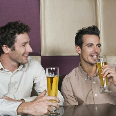 Men drinking beer in a bar