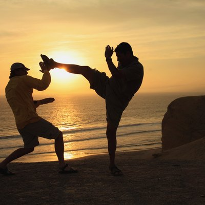 Fighting by the beach