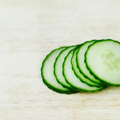 close-up of slices of cucumber