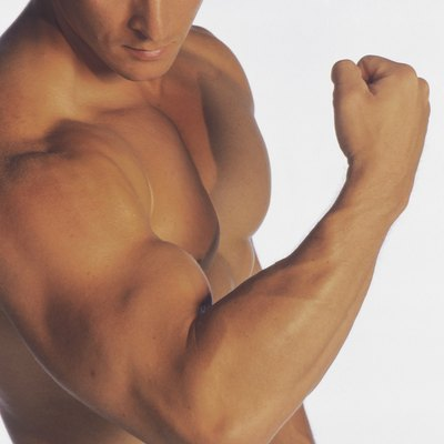 Man flexing biceps