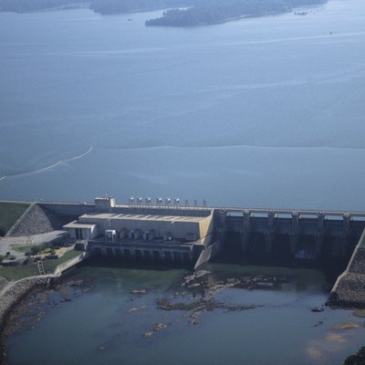 Renewable energy, West Point Hydroelectric Dam, aerial view, GA, USA