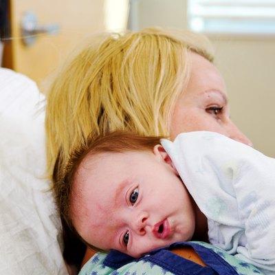 Baby resting on Mom's shoulder