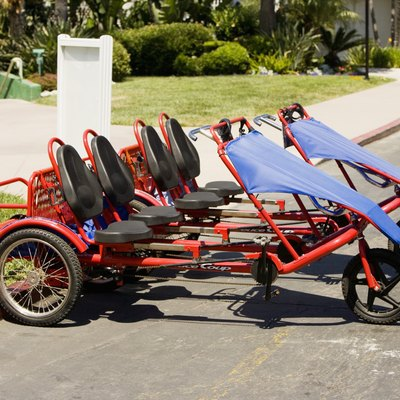 Side profile of a two seater recumbent bikes, San Diego, California, USA