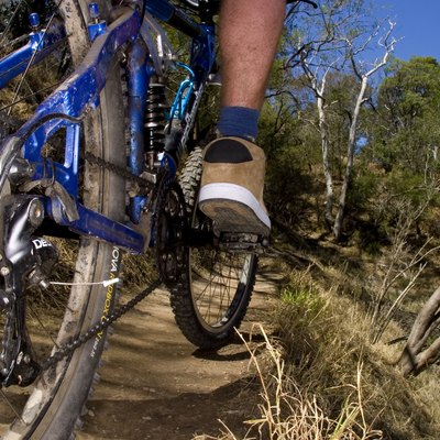 A stock photograph of an active young man riging through the country on a mountain bike.