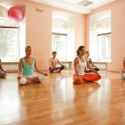 Yoga group practicing