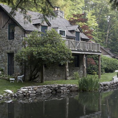 Cottage house on edge of lake
